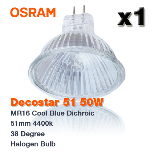 1x osram decostar 51 50w mr16 cool blue dichroic 4400k 36 halogen bulb ebay. Black Bedroom Furniture Sets. Home Design Ideas