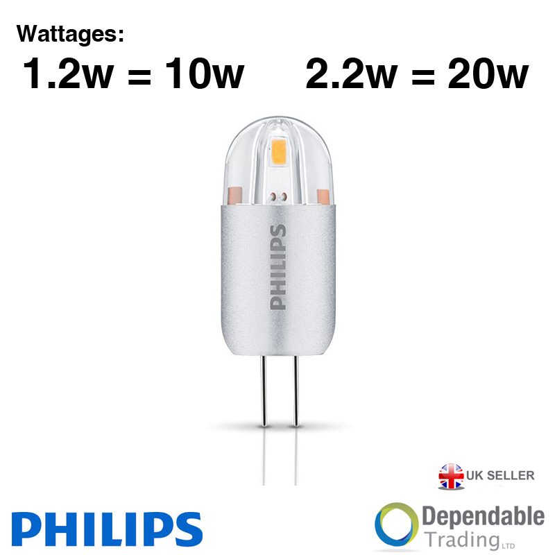 philips led g4 halogen capsules 1 2w 10w 2 2w 20w light bulbs lamps 12v gu4 ebay. Black Bedroom Furniture Sets. Home Design Ideas