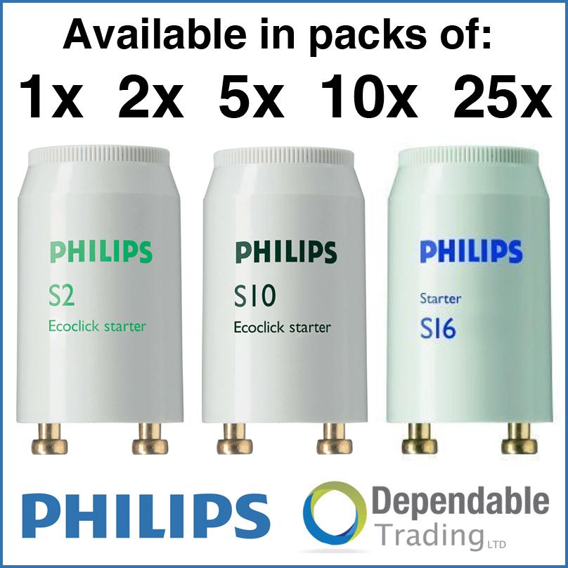 philips fluorescent tube starters s2 4w 20w s10 4w 65w s16 70w 125w ebay. Black Bedroom Furniture Sets. Home Design Ideas