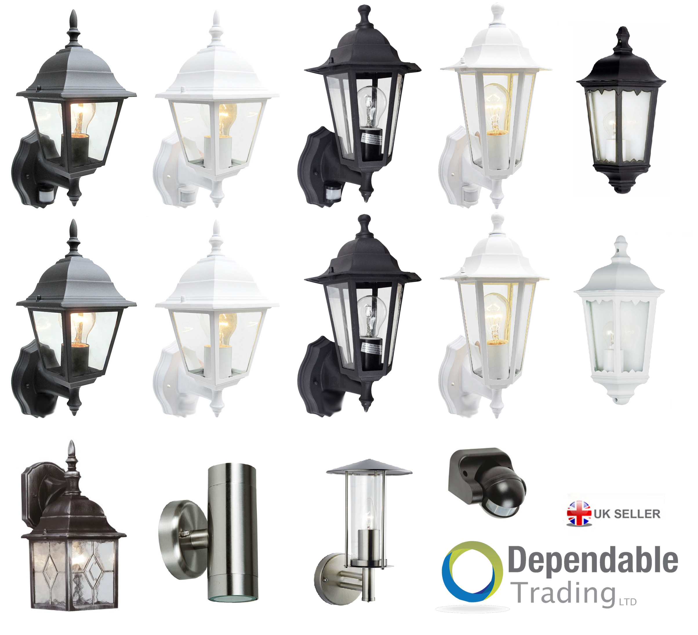 Traditional Garden Wall Lights : Traditional Garden Wall Lights Lanterns Outdoor lights Exterior With PIR Sensor eBay